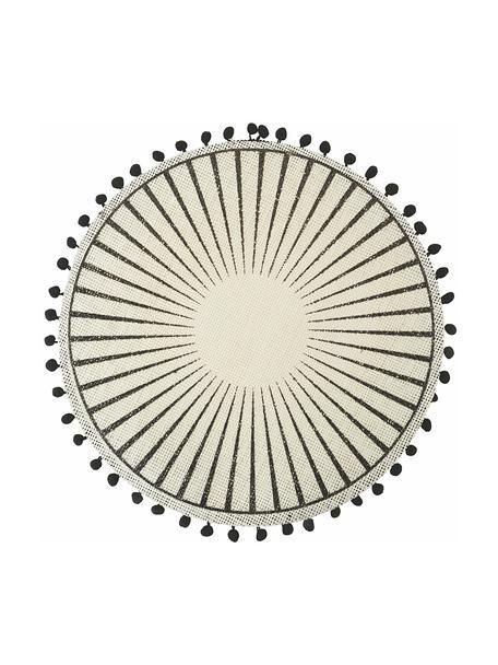 Tovaglietta americana con pompon Blackpon 6 pz, Juta, Bianco, nero, Ø 38 cm