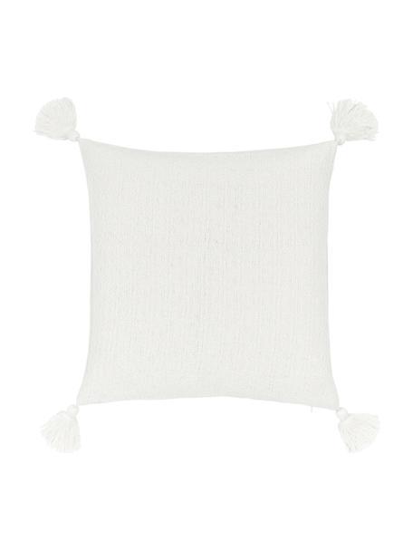Federa arredo color bianco crema con nappe decorative Lori, 100% cotone, Bianco, Larg. 40 x Lung. 40 cm