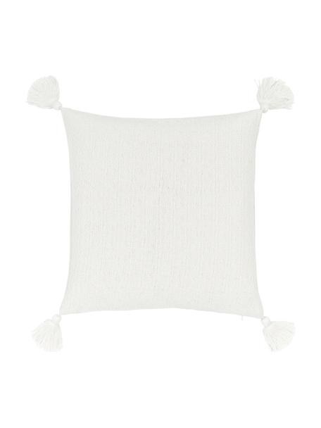 Poszewka na poduszkę z chwostami Lori, 100% bawełna, Biały, S 40 x D 40 cm