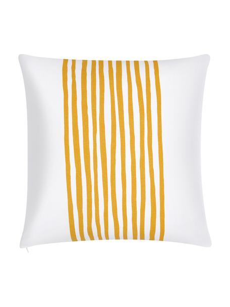 Kussenhoes Corey met strepen in geel/wit, 100% katoen, Geel, wit, 40 x 40 cm