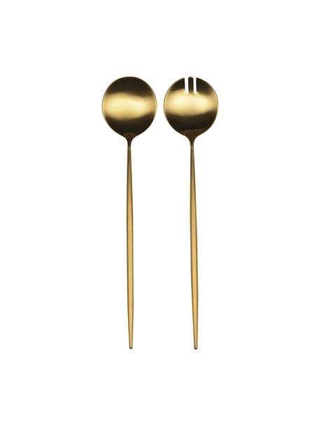 Komplet sztućców sałatkowych ze stali szlachetnej Bologne, 2 elem., Stal szlachetna, powlekana, Odcienie złotego, D 30 cm