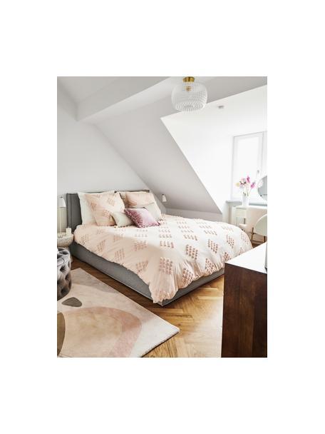 Łóżko tapicerowane z miejscem do przechowywania Dream, Korpus: lite drewno sosnowe i pły, Tapicerka: 100 % poliester (tkanina , Jasny szary, S 140 x D 200 cm