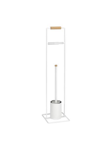 WC-papierhouder Barbican met toiletborstel, Metaal, gelakt rubberhout, Wit, rubberhoutkleurig, 18 x 72 cm
