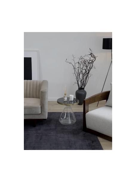 Bijzettafel Enzo met glazen voet, Tafelblad: gecoat metaal, Voet: glas, Zwart, Ø 41 x H 42 cm