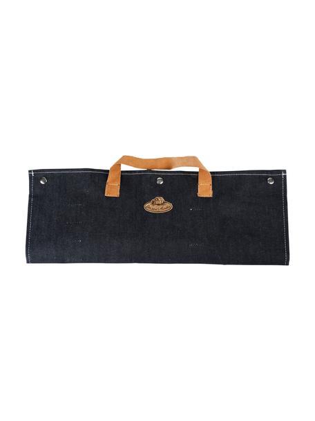 Grillwerkzeug-Set Denim, 5-tlg., Tasche: 90% Baumwolle, 10% Polyes, Schwarz, 50 x 36 cm