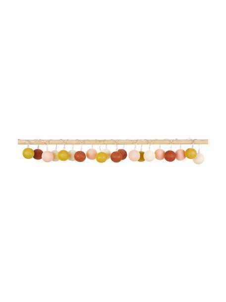 Guirnalda de luces LED Colorain, 378cm, 20 luces, Linternas: poliéster, Cable: plástico, Crema, rosa, amarillo, rojo indio, L 378 cm