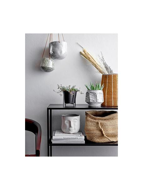 Kleine plantenpot Huma van keramiek, Keramiek, Wit, beige, 18 x 16 cm