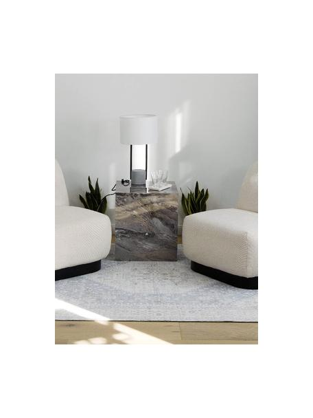 Lampa stołowa z betonową podstawą Pipero, Klosz: biały Podstawa lampy: czarny, matowy, szary Kabel: czarny, Ø 28 x W 51 cm