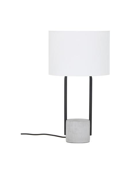 Grote tafellamp Pipero met betonnen voet, Lampenkap: textiel, Lampvoet: gepoedercoat metaal, beto, Lampenkap: wit. Lampvoet: mat zwart, grijs. Snoer: zwart, Ø 28 x H 51 cm