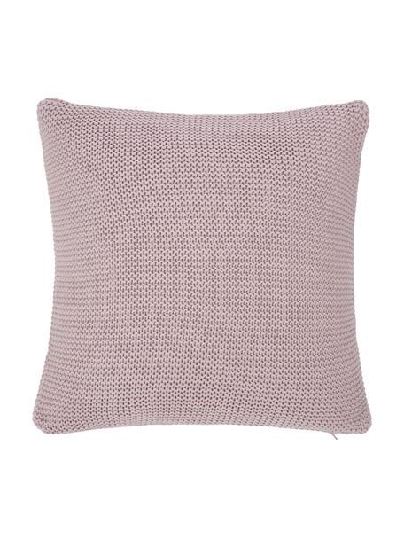 Federa arredo a maglia in cotone biologico rosa cipria Adalyn, 100% cotone biologico, certificato GOTS, Rosa cipria, Larg. 50 x Lung. 50 cm