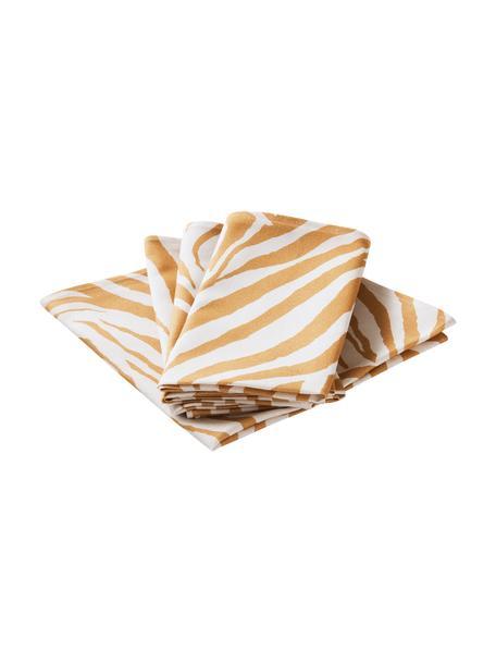 Stoff-Servietten Zadie aus Baumwolle mit Zebramuster, 4 Stück, 100% Baumwolle, Senfgelb, Cremeweiß, 45 x 45 cm