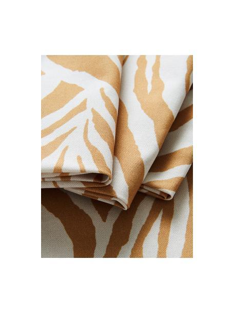 Stoffen servetten Zadie van katoen met zebrapatroon, 4 stuks, 100% katoen, Mosterdgeel, crèmewit, 45 x 45 cm