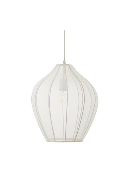 Hanglamp Beau van netstof, Lampenkap: textiel, Baldakijn: gepoedercoat metaal, Crèmekleurig, Ø 40  x H 40 cm
