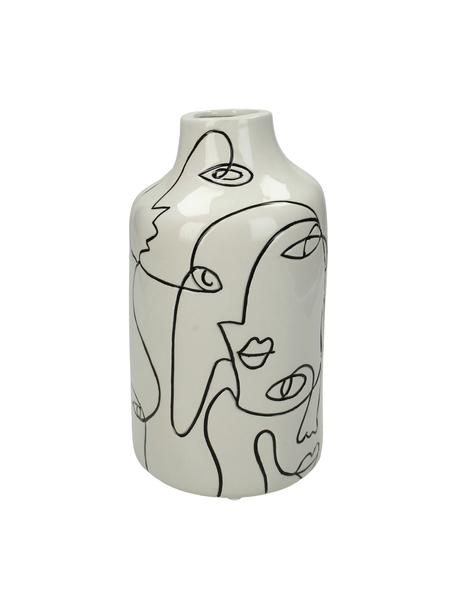 Vaas Faces van keramiek, Keramiek, Gebroken wit, zwart, Ø 11 cm