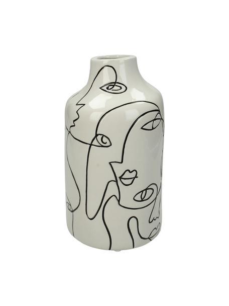 Vaso in gres con motivo viso Faces, Gres, Bianco latteo, nero, Ø 11 x Alt. 21 cm