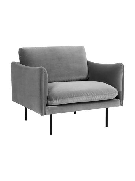 Fotel z aksamitu z metalowymi nogami Moby, Tapicerka: aksamit (wysokiej jakości, Nogi: metal malowany proszkowo, Aksamitny szary, S 90 x G 90 cm