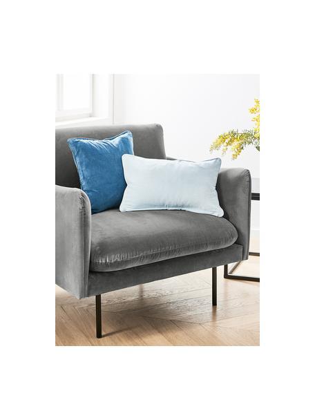 Fotel z aksamitu z metalowymi nogami Moby, Tapicerka: aksamit (wysokiej jakości, Stelaż: lite drewno sosnowe, Nogi: metal malowany proszkowo, Aksamitny szary, S 90 x G 90 cm