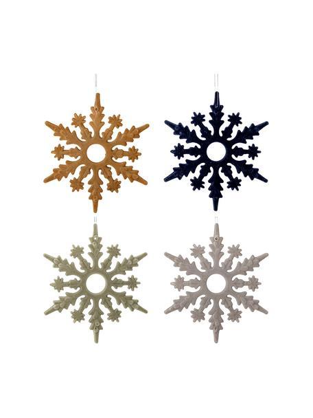 Adornos navideños irrompibles Snowflakes, 4uds., Adornos: plástico, poliéster, Mostaza, azul oscuro, verde menta, gris, Ø 15 cm