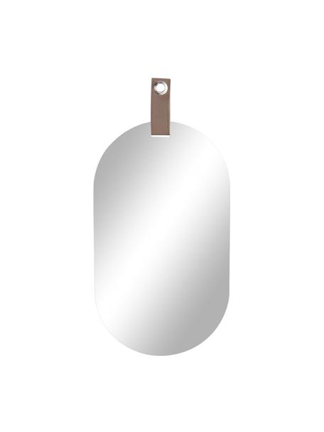 Ovale wandspiegel Perky met bruine ophangband, Spiegelglas, 22 x 39 cm