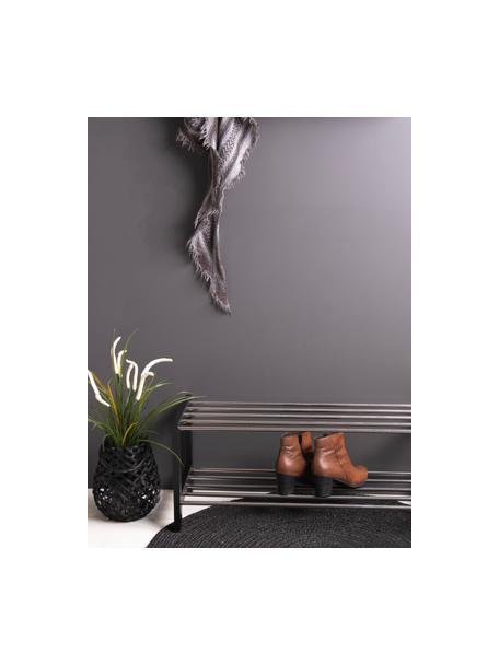 Schoenenrek Padova met twee schappen, Frame: gelakt populierenhout, Plateaus: staal, Zwart, staalkleurig, 78 x 32 cm