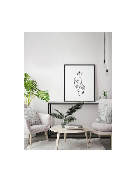Gerahmter Digitaldruck Naked Woman, Bild: Digitaldruck auf Papier, , Rahmen: Holz, lackiert, Front: Plexiglas, Schwarz, Weiß, 53 x 63 cm