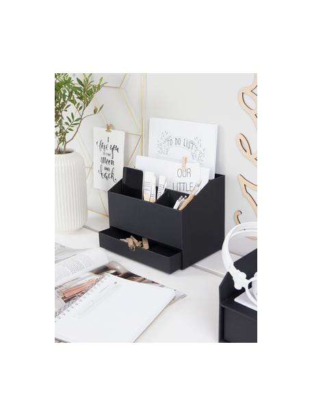 Büro-Organizer Greta, Fester, laminierter Karton (100% recyceltes Papier), Schwarz, 24 x 18 cm
