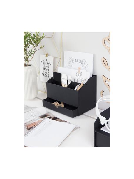 Organizer biurowy Greta, Solidna, laminowana tektura (Papier w 100% z recyklingu), Czarny, S 24 x W 18 cm