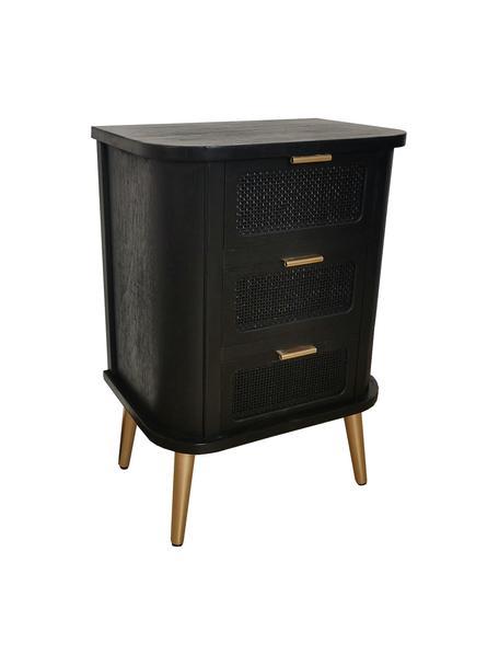 Nachtkastje Cayetana Round van hout, Frame: gelakt MDF, Poten: bamboehout, gelakt, Handvatten: gelakt metaal, Zwart, 50 x 72 cm