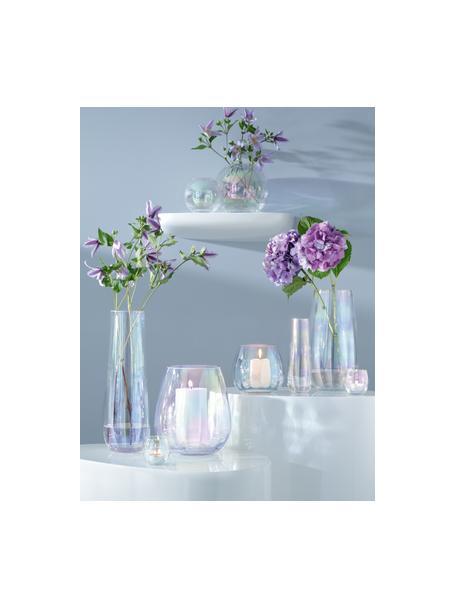 Vaso alto in vetro soffiato Pearl, Vetro, Riflessi madreperlacei, Ø 13 x Alt. 36 cm