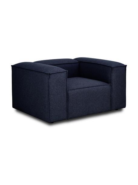 Poltrona in tessuto blu Lennon, Rivestimento: 100% poliestre Il rivesti, Struttura: legno di pino massiccio, , Piedini: plastica I piedini si tro, Tessuto blu, Larg. 130 x Alt. 101 cm