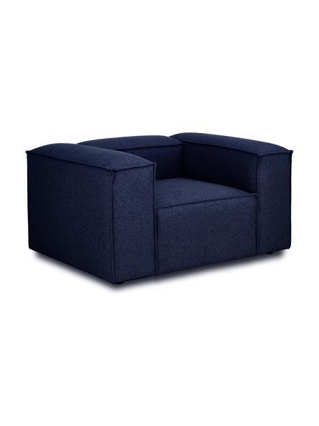 Fauteuil Lennon in blauw, Bekleding: 100% polyester De slijtva, Frame: massief grenenhout, multi, Poten: kunststof De poten bevind, Geweven stof blauw, 130 x 101 cm