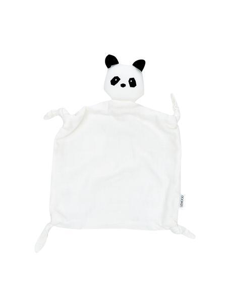 Knuffeldeken Agnete, 100% biokatoen, Oeko-Tex gecertificeerd, Wit, zwart, 35 x 35 cm