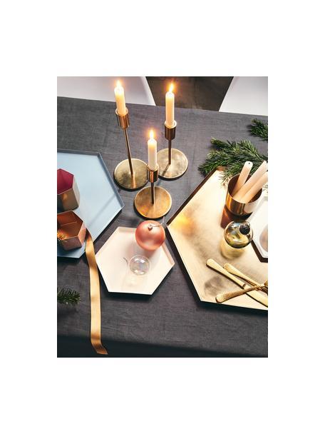 Duży świecznik Highlight, Aluminium powlekane, Odcienie mosiądzu, Ø 11 x W 29 cm