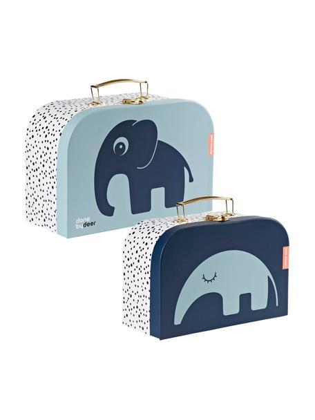 Set 2 valigie Deer Friends, Custodia: cartone, laminato, Manico: metallo, rivestito, Blu, Set in varie misure