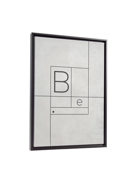 Gerahmter Digitaldruck Myrthe, Rahmen: Mitteldichte Holzfaserpla, Bild: Leinwand, Grau, Schwarz, 50 x 70 cm