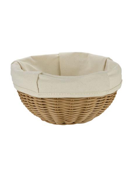 Cesta per pane con inserto in cotone Hally, Marrone, beige, Ø 23 x Alt. 10 cm