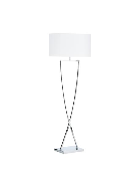 Lampada da terra in agento Toulouse, Paralume: tessuto, Base della lampada: metallo cromato, Cromo, bianco, Larg. 50 cm x Alt. 157 cm