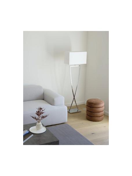 Lámpara de pie Toulouse, Pantalla: tela, Cable: plástico, Cromo, blanco, An 50 x Al 157 cm