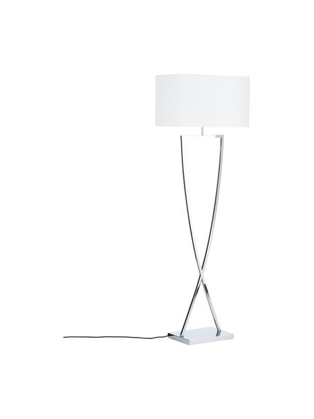 Vloerlamp Toulouse in zilverkleur, Lampenkap: textiel, Lampvoet: verchroomd metaal, Chroomkleurig, wit, 50 x 157 cm