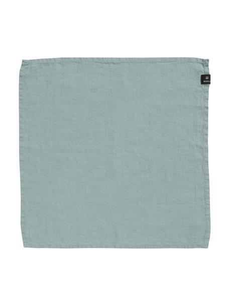 Servilletas de lino Sunshine, 4uds., Lino, Verde azulado claro, An 45 x L 45 cm