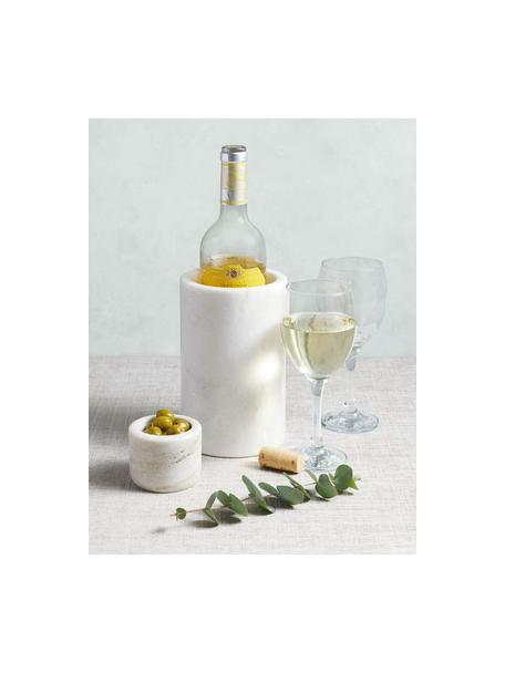 Marmor-Flaschenkühler Charlie in Weiß, Marmor, Weiß, marmoriert, Ø 12 x H 19 cm