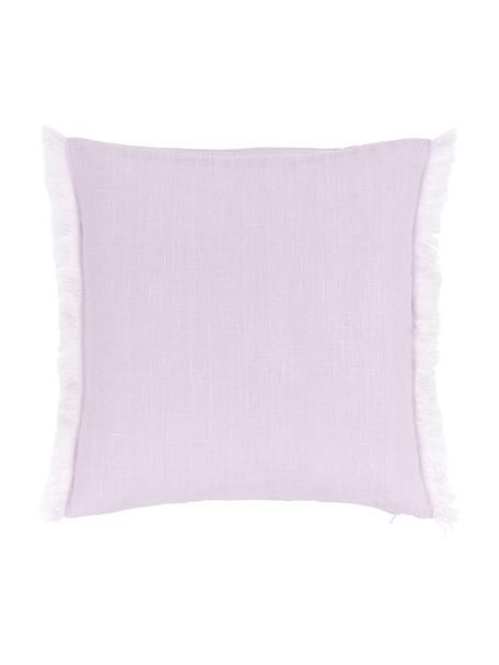 Federe arredo in lino lilla con frange Luana, 100% lino, Lilla, Larg. 40 x Lung. 40 cm