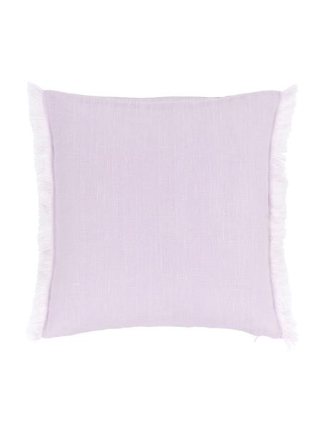 Poszewka na poduszkę z lnu z frędzlami Luana, 100% len, Lila, S 40 x D 40 cm