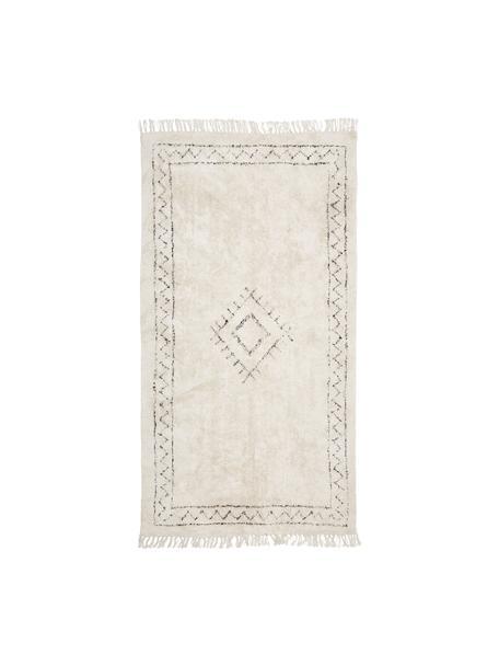 Handgetufteter Boho-Baumwollteppich Frame mit Fransen, 100% Baumwolle, Beige, Schwarz, 80 x 150 cm