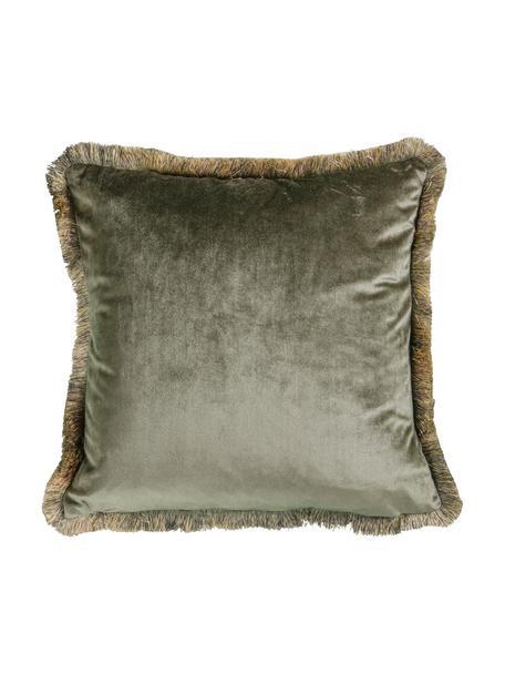 Poduszka z aksamitu z wypełnieniem Ombre, Tapicerka: 100% aksamit poliestrowy, Khaki, S 45 x D 45 cm