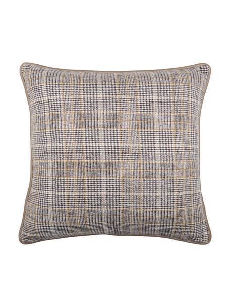 Kissen Arnolda mit Karomuster, mit Inlett, 100% Polyester, Beige, Grau, Weiß, 45 x 45 cm