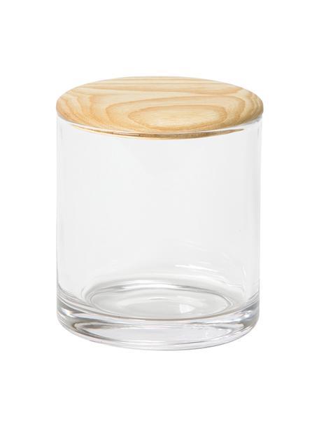 Aufbewahrungsdose Agada, Dose: Glas, Deckel: Eschenholz, Transparent, Ø 11 x H 12 cm