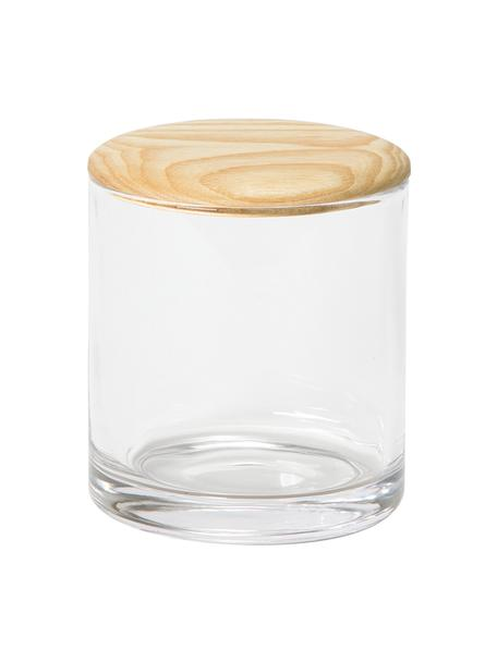 Contenitore Agada, Contenitore: vetro, Coperchio: legno di frassino, Trasparente, Ø 11 x Alt. 12 cm