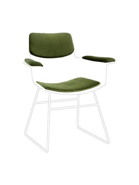 Samt-Sitzauflagen-Set für Metall-Armlehnstuhl Wire, 3-tlg., Bezug: 60% Baumwolle, 40% Polyes, Grün, Set mit verschiedenen Größen
