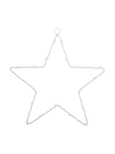 Estrella luminosa LED Silhouet, funciona a pilas, Metal pintado, Blanco, Ancho 20 x Alto 21 cm